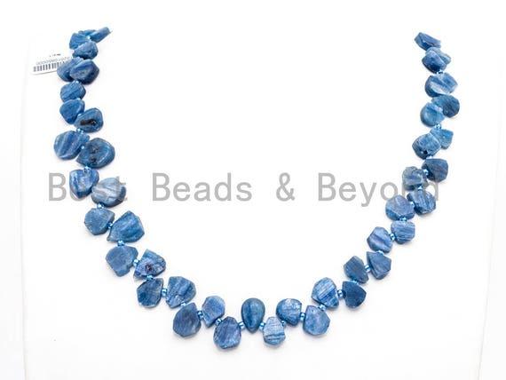 Quality Natural Kyanite beads, 10-14mm irregular Teardrop Top drilled blue Gemstone Beads, 15.5inch strand, SKU#U157