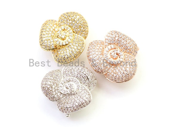 CZ Clear Micro Pave Floral Rose Clasp, Cubic Zirconia Flower Clasp/Fastener/Shortener, 21mm, sku#H27