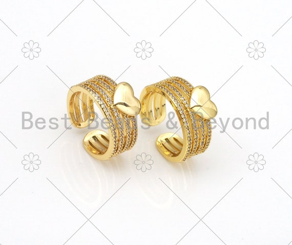 CZ Micro Pave Heart Shape Adjustable Ring,18K Gold Filled Cubic Zirconia Open Ring, CZ Heart Ring, 21mm,Sku#X231