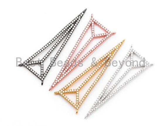 49x17mm CZ Clear Micro Pave open Triangle Connector Pendant/Charm, Cubic Zirconia Connector, Fashion Jewelry Findings, 1pc/2pcs, sku#F347