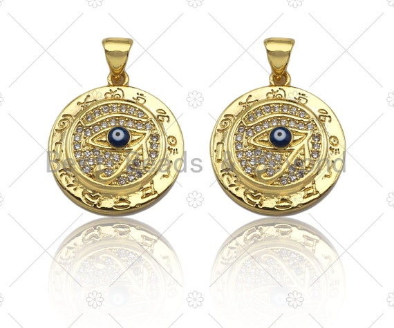 18k Dainty Gold Enamel Evil Eye On Round Coin Shape Charms, Dainty Charms, Gold Pendant, Necklace Charms, 18x20mm, Sku#LK169