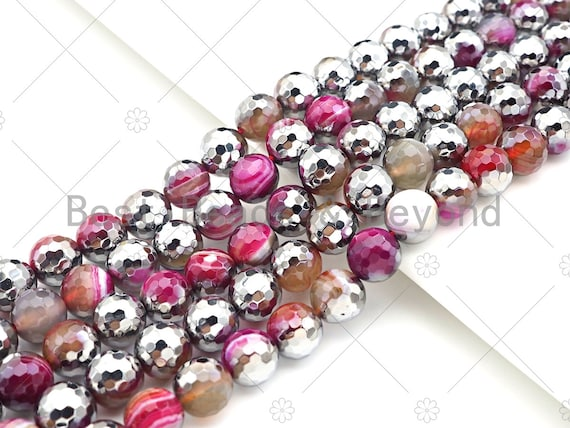 "ETSY EXCLUSIVE Natural Half Silver Red Agate Beads, 8mm/10mm/12mm Round Faceted red Agate Beads, 15.5"" Full Strand, sku#UA153"