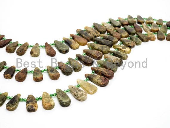 Natural Green Garnet beads, 18-32mm, Long Teardrop Green Brown Gemstone Beads, 15.5inch strand, SKU#U143