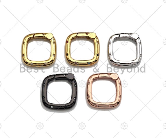 CZ Micro Pave Square Shape Carabiner Clasp with Easy Open Spring, Square Spring Snap Clasp, 18mm, sku#H304