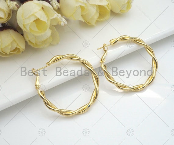 Gold Twisted Large Hoop Earrings, Bold Gold Hoop Earrings, Statement Hoops, Hoops Earring gift for her, 50mm, sku#J300