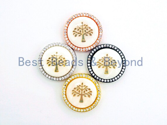 CZ Micro Pave Gilding Life of Tree plated on Mother of Pearl Disc Beads, Pave Pendant Connector Beads for Bracelet/Necklace, 19mm,sku#Z247