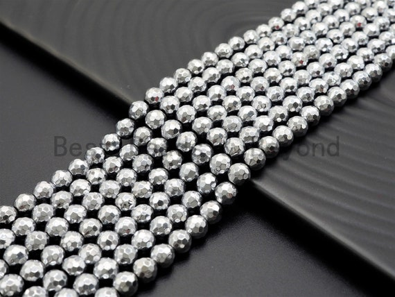 Natural Silver Hematite Beads-2mm/3mm/4mm/6mm/8mm/10mm/12mm Round Faceted Gemstone Beads-15inch Fullstrand-Metallic silver Beads, SKU#S118