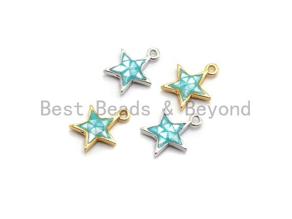100% Natural Aqua Blue Color Five Star Shell Charm, Blue Shell Pendant, Shell Jewelry, Star shape Charm,  11x13mm,SKU#Z338