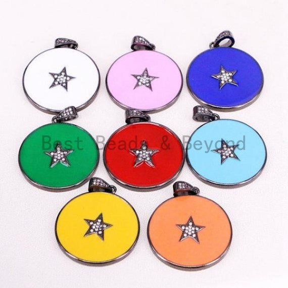 NEW Colorful Enamel Star on Disc Pendant,Cubic Zirconia Pave Pendant, Red/Blue/Pink/Orange/Yellow/White/Green Star Charms, 30*35mm, SKU#F613