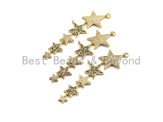 Multi Color CZ Micro Pave Stars Pendant, Star Shaped Pave Charm, Gold plated Earring Bracelet Necklace Findings,18x62mm,Sku#F860