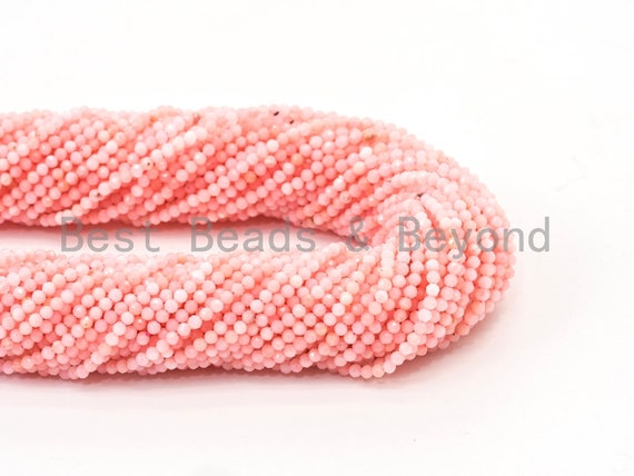 "2mm 3mm High Quality Natural Pink Opal Faceted Round Ball Beads, Pink Gemstones Beads,Natural Pink Opal Beads,15.5"" Full Strand,SKU#U109"