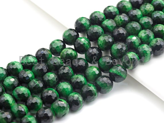 High Quality Natural Faceted Tiger Eye Round Beads, 6mm/8mm/10mm/12mm Round Beads, GreenTiger Eye Beads, 15.5 inch Full strand, SKU#U817