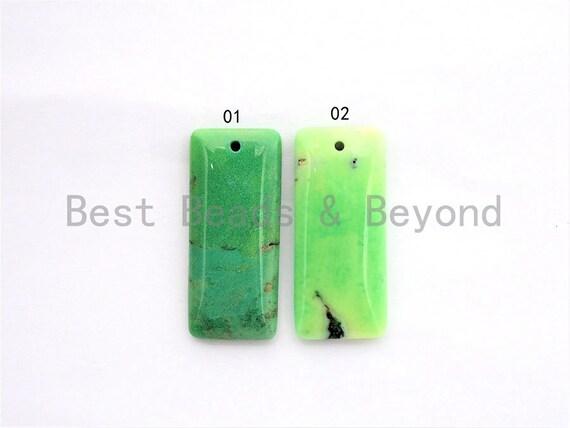 Natural Green Grass Agate Rectangle Pendant, Green Rectangle Beads, Loose Gemstone Pendant, 18x42x5mm, SKU#U275