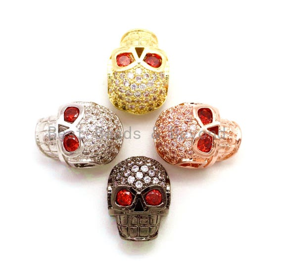 CZ Red Eye Skull Clear Micro Pave Beads, Cubic Zirconia Spacer Beads,12x10x7mm, sku#G135