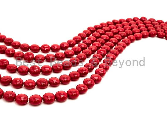 Red Natural Mother of Pearl beads,12x8mm Pearl Coin beads, Loose Coin Smooth Pearl Shell Beads, 16inch strand, SKU#T84