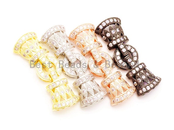CZ Clear Micro Paved Fold Over Buckle Clasp/Buckle Interlock Clasp, Cubic Zirconia Clasp, 36x12mm, sku#H5