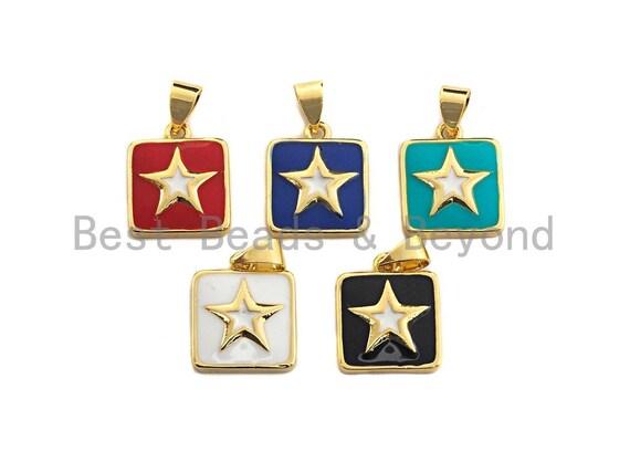 Enamel Colored Star on Square Pendant, CZ Micro Pave Oil Drop Square pendant, Enamel Jewelry,13x15mm,sku#F941