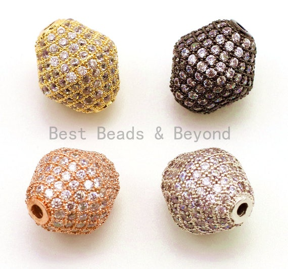 CZ Micro Pave Bicone Spacer Beads for Bracelet/Necklace, Cubic Zirconia Beads, Bracelet beads, 13x12mm, sku#G30