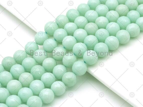 Natural Green Blue Round Faceted Jade Beads, 6mm/8mm/10mm/12mm Round Faceted Jade, Dyed Jade, 15.5'' Full Strand, Sku#U1177
