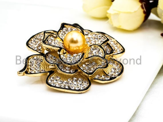 CZ Micro Pave Gold Tone Rose Flower Brooch Pin with 10mm Round Shell Pearl,Pave Flower Penant Brooch Pin, 46x57mm, Sku#P29