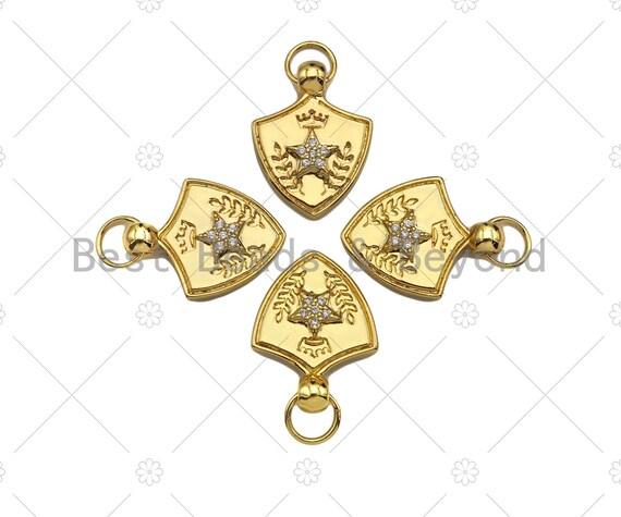CZ Micro Pave Five Star Crown On Shield  Shape Pendant/Charm,Cubic Zirconia Charm, Shield Necklace Bracelet Charm Pendant,19x25mm, Sku#L473