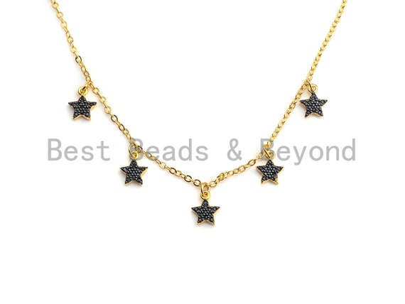 Dainty Gold Black Star Layering Necklace, Gold Necklace, Layering Necklace, Star Necklace, Choker Necklace, Mom Christmas Gift, sku# Z712
