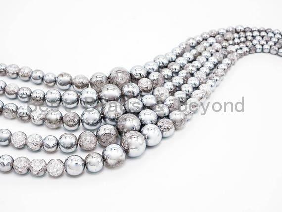 Crack Quartz Half Silver Plated Graduated Strand, 6mm-16mm Round Smooth beads, Silver Clear Quartz Beads, 15.5inch strand, SKU#U77