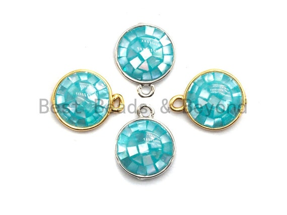 100% Natural Aqua Blue Color Shell Round Pendant Charm in Gold/Silver Finish,Turquoise Blue Shell Charm, Shell Charm, 10x12mm,SKU#Z320