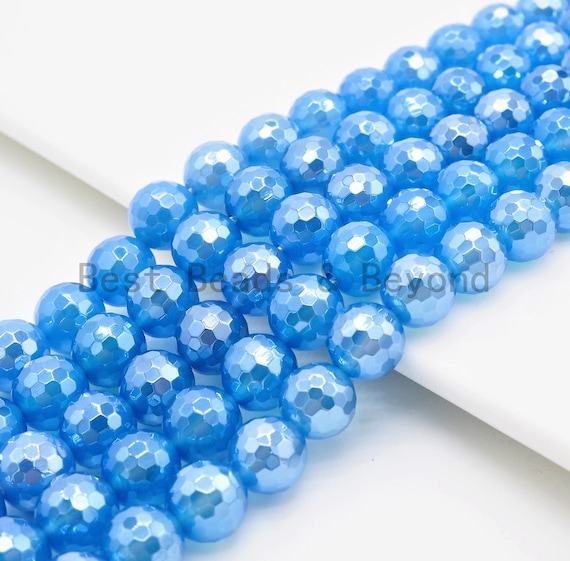 Mystic Plated Faceted Blue Agate beads, 6mm/8mm/10mm/12mm Natural Gemstone beads, Natural Blue Beads, 15.5inch strand, SKU#U363