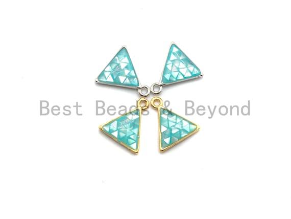 100% Natural Aqua Blue Color Shell Triangle Shape Charm, Blue Gold/Silver Shell charms, Shell Charm, Shell Beads, 11x12mm,SKU#fZ308