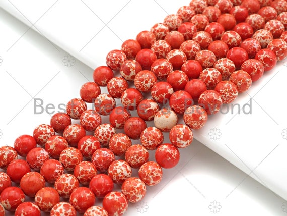 High Quality Orange Sea Sediment Imperial Jasper Beads, 6mm/8mm/10mm/12mm Round Smooth Imperial Japser, 15.5'' Full Strand, SKU#UA203