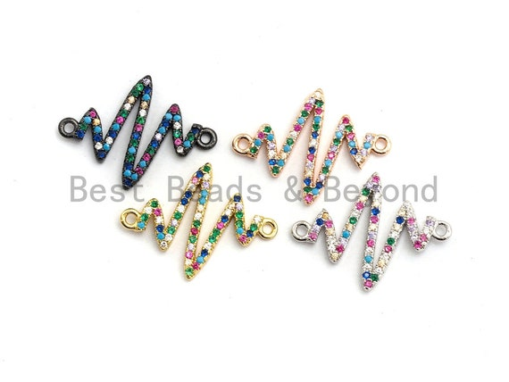 Colorful CZ Micro Pave Radio Zigzag Connector/Link, Cubic Zirconia Bracelet Necklace Earring Connector,17x23mm,sku#E423