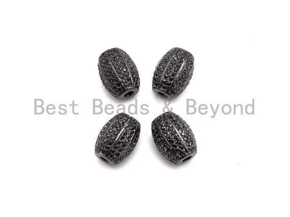 PRE-SELLING  Black CZ Pave On Black Micro Pave Oval Spacer Beads Crystal for Bracelet/Necklace, Cubic Zirconia Beads, 10x13mm, sku#G414
