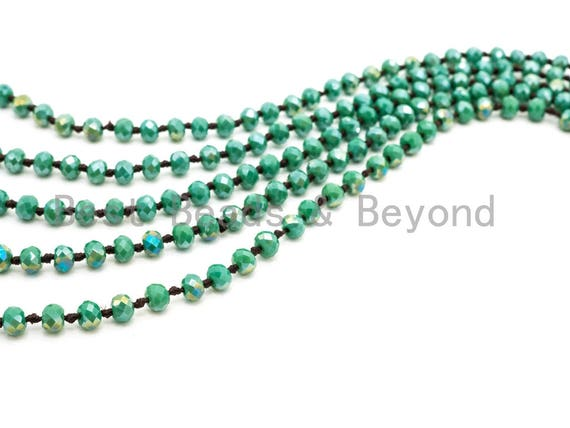 "60"" EXTRA Long Hand Knotted Tear Green Color Crystal Necklace, Double Wrap Necklace, Green 2x4mm Rondelle Faceted Crystal Beads,SKU#D22"