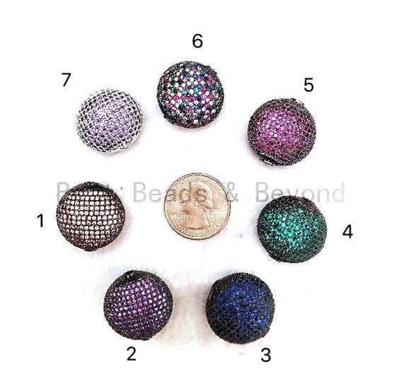 24mm LARGE Colored CZ Micro Pave Oval Beads, Focal Beads, CZ Pave Beads, Bronze/Green/Fuchsia/Cobalt Blue/Purple, Sku#GG12