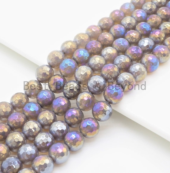 """Etsy Exclusive Mystic Plated Faceted Agate Beads,6mm/8mm/10mm/12mm, Rainbow Gray Agate Beads,15.5"""" Full Strand, SKU#U344"""