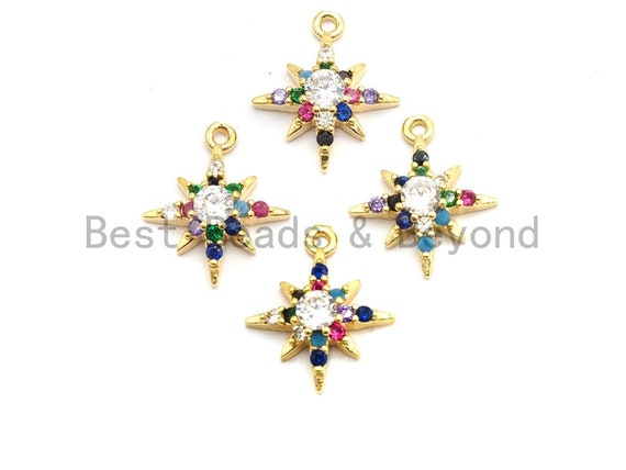 Multi-Color CZ Micro Pave North Star Charm Pendant, Star Shaped Pave Pendant, Gold plated, 9x11mm, Sku#B105