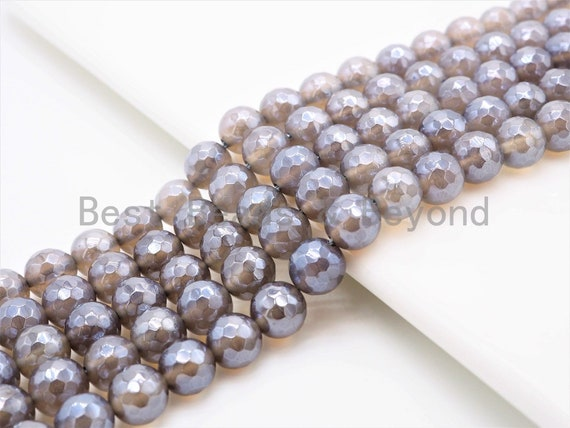Mystic Plated Natural Faceted Gray Agate beads, 6mm/8mm/10mm/12mm Gray Gemstone beads, Natural Agate Beads, 15.5inch strand, SKU#U263