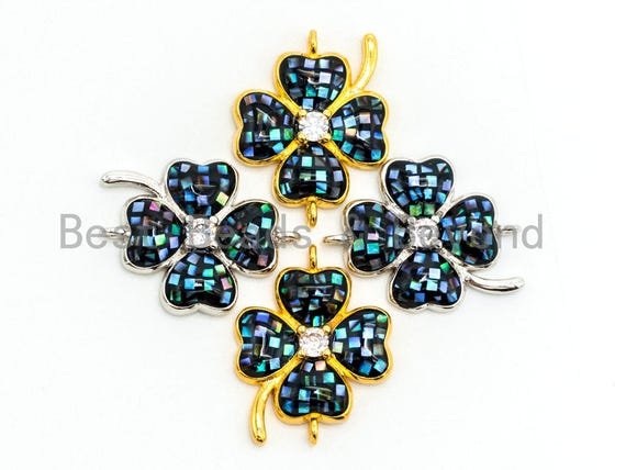 CZ Micro Pave Abalone Four-leaf Clover Connector, Abalone Cubic Zirconia Space Connector, 16x21mm, Jewelry Findings,sku#Z34