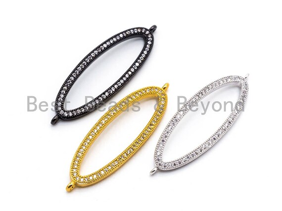 1pc/2pcs CZ Micro Pave Long Oval Link Connector, Cubic Zirconia Pave Oval Connector Charm, Finding DIY Jewelry, 13x43mm, SKU#E355