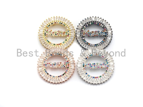 PRE-SELLING Colorful Cz Clear Micro Pave Round With MAMA Pendant, Gold/Rose Gold/Silver/Gunmetal plated, Gift for Mom, 28mm,Sku#F717