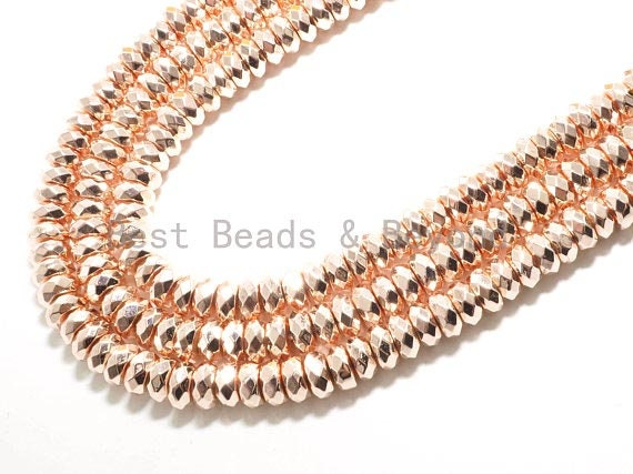 2018 New Light Rose Gold Color Hematite-2x3/2x4/3x6/3x8mm Rondelle Faceted Gemstone Beads-15.5 inch FULL strand-Rose Gold Beads-SKU#S88
