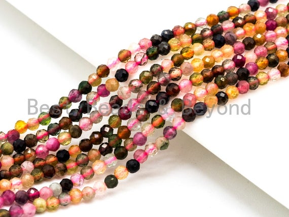 Natural Tourmaline Round Faceted beads, 2mm 3mm Multi Colored Gemstone Beads, 15.5inch strand, SKU#U69