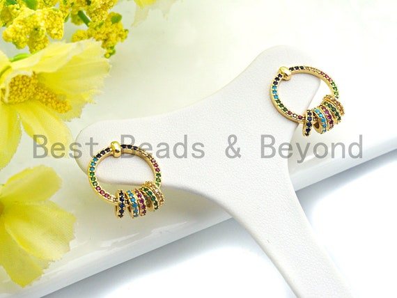 Pre-Selling Colorful CZ Micro Pave Stud Earring, Ring Shaped Earrings with Five Little Rings, CZ Gold Stud Earring,14x17mm,sku#J120