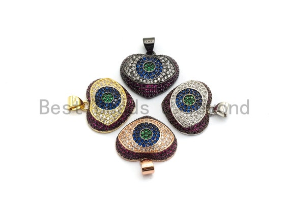 CZ Micro Pave Multi color Puffy Heart with Evil Eye Pendant, Heart Cubic Zirconia Pendant, Evil Eye Charm, 18x22mm,sku#F692