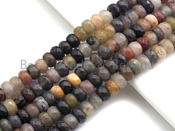 """2mm Large Hole Natural Chinese Tourmaline Beads, Rondelle Faceted 6x10mm/5x8mm, 8"""" Long Strands, sku#U708"""