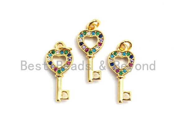 PRE-SELLING CZ Colorful Micro Pave Heart Shape Key Charm Pendant, Key Shaped Pave Pendant, Gold plated, 8x18mm, Sku#F761