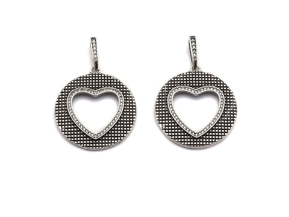 PRE-SELLING  Antique Finish  CZ Micro Pave Hollow Out Heart Pendant, Silver Tone, Pave Round With Heart Charm Pendant, 28x31mm,sku#F991