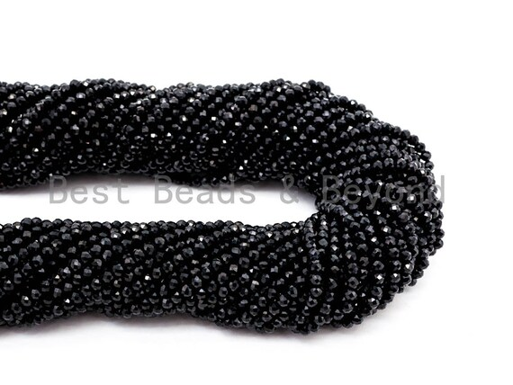 2mm High Quality Natural Black Spinel Round Micro Faceted Beads, Finest Cut Tiny Sparkle Black Gemstone Beads,15inch strand, SKU#U50