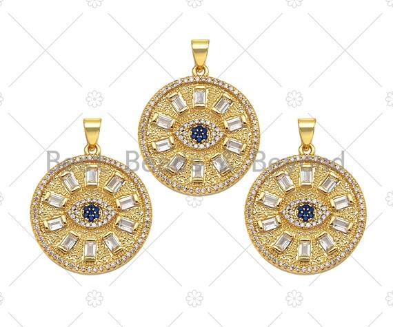 Big CZ Micro Pave Evil Eye On Round Coin Shape Pendant/Charm,Cubic Zirconia Medallion Charm, Necklace Bracelet Charm, 26x23mm, Sku#F1360